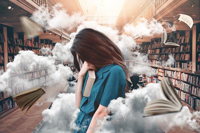 mraky v knihovně